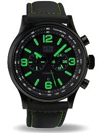 Davis 1842 - Reloj Aviador Hombre Verde 48mm Phantom Cronógrafo Sumergible 50M Correa Lorica Negra