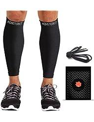 MonsterKit Sport - Manga de pierna de compresión unisex sin costuras para correr, ciclismo, Crossfit, senderismo, tenis y baloncesto, 100% garantía de devolución del dinero, mujer hombre Unisex, color negro, tamaño 11in -15in Calf (M/L) - Pair