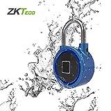 Lucchetto Bluetooth Fingerprint Smart Padlock APP Impermeabile/Impronta Digitale Sblocco Antifurto Porta Lucchetto Serratura Bagagli per Sistema Android iOS (Blu)