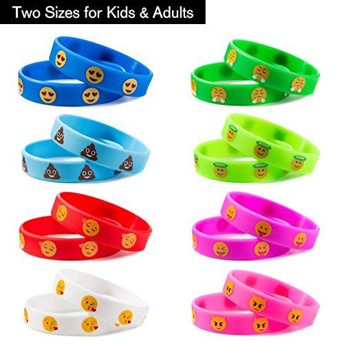 Silikon Armband, Emoji-Silikon Armbänder für Kinder Party Supplies, Neuheit Emoji Tütenfüller Kindergeburtstag Mitgebsel für Kinder 32 Pack in 2 Größe