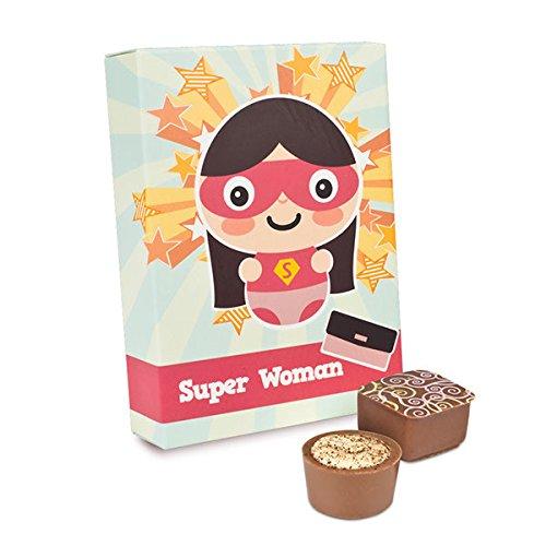 Super Woman - 6 Pralinen in Comic-Verpackung, Schokolade für Frauen, Frauentag Pralinen, Geschenk für Freundin