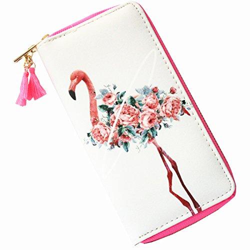 MayeBridge portafoglio Donna Cute Unicorno Borsa Del Portafoglio Della Moneta -M260 (Bianco) Flamingo White