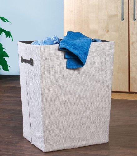 Wenko 2430015100 Wäschesammler Cool Grey - Wäschekorb, faltbar, Fassungsvermögen 63 L, Papierstoff, 40 x 53 x 30 cm, Hellgrau - 2