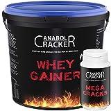 Whey Gainer Protein, 100% reiner Hardgainer, 3000g Eimer, Vitamine Eiweißpulver + Mega Cracks Testosteron Booster Muskelaufbau (3Kg Erdbeere)