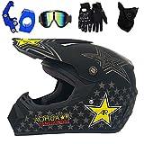 PKFG Casque Moto Cross Adulte, Noir Casque Integral VTT Enduro Accessoire Contient Casque Crochet Goggle Gant Masque Homme Femme Equipement Moto Convient pour Motocross Bicyclette,XL(58~59CM)