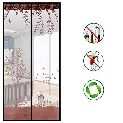 Drucken Fliegengitter Tür,selbstversiegelung Langlebig Fiberglas Doppeltür Bildschirm Mesh-vorhang Behalte Bugs Aus-a 95x200cm(37x79inch)