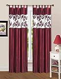 140x250 cm 2 Stück bordeaux burgund creme Vorhang Vorhänge Fensterdekoration Gardine Schlaufenaufhängung 66273