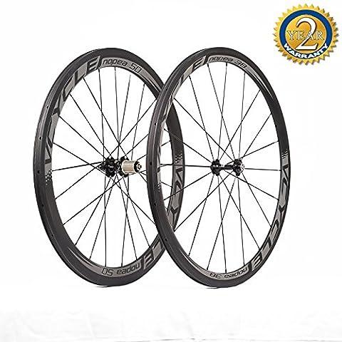 VCYCLE Nopea 700C Rennrad Carbon Laufradsatz Drahtreifen Vorne 38mm Hinten 50mm Basalt Bremsen Oberfläche 23mm Breite Shimano oder Sram 8/9/10/11 Speed