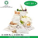 BESTE WIEDERVERWENDBARE PRODUKTTASCHEN 4er Set - Biobaumwoll Musselin Taschen von All Cotton und Leinen Baumwolle Drawstring Taschen Zero Waste Home Set von 4 (8'x10 ', 12'x10', 12 'x15' - 2 Stück))