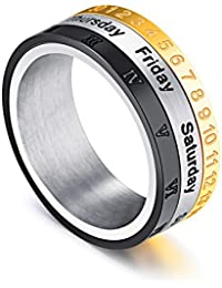 Yellow Chimes Revolving Calender Stainless Steel Rings for Men and Boys