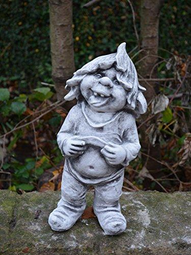 D949 Lustiger Gnom mit nackten Bauch Troll Wichtel Steinfigur