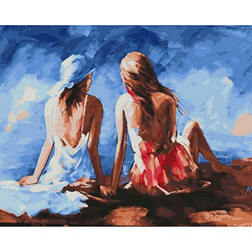 Cuadro pintura al óleo por números decoración de pared pintura bricolaje sobre lienzo para la decoración del hogar sentado