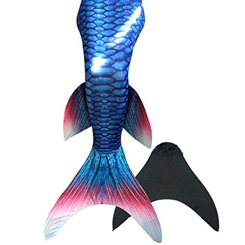 Flyhigh Meerjungfrauenschwanz zum Schwimmen mit Meerjungfrau Flosse , blue&red , 130-140cm (Herstellergröße 12)