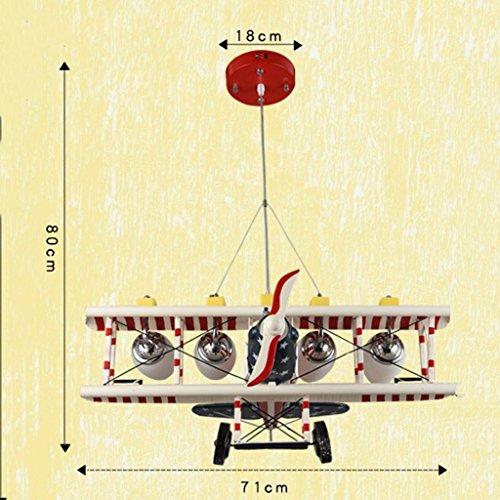 Guo Kinderzimmer-Lichter Jungen-Raum-Flugzeug-Lichter Kronleuchter-Pers5onlichkeit-kreative Eisen-Lampen E27 Lampen-Hafen - 8
