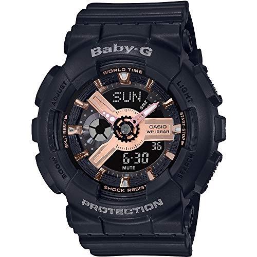 CASIO Damen Analog-Digital Quarz Uhr mit Harz Armband BA-110RG-1AER