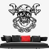 ASFGA Vélo Crâne Wall Sticker Garage Décoration Service De Réparation De Voiture Vinyle Sticker Mural Décor À La Maison Salon Chambre Adolescent 30x28 cm