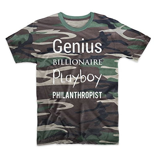 Hustler Top Shirt (Genius Billionaire Playboy Philanthropist Hustler Geld Motivation Tarnung Herren T-Shirt Camo Large)