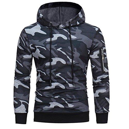 Kobay Herren Long Sleeve Camouflage Hoodie mit Kapuze Sweatshirt Tops Jacke Mantel Outwear (Herren Mantel Militär)