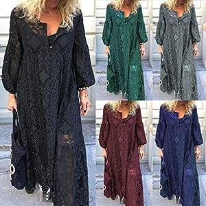 Floweworld Damen Langarm Maxi Kleider Mode V-Ausschnitt Knopf Spitze Spleißen Aushöhlen Party Kleider Plus Size Lange…