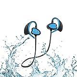 Nanle Ipx8 Waterproof CSR Auriculares Bluetooth Cancelación de Ruido Auriculares Deportivos inalámbricos con Gancho para los oídos Auriculares Resistentes al Sudor con micrófono (Color : Azul)