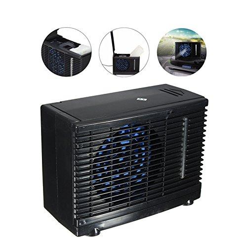 Lifesongs Universal DC12V aire acondicionado evaporativo aire acondicionado del coche 35W negro portátil mini acondicionador de enfriamiento ventilador de aire evaporativo de agua, verano enfriamiento aire circulador bajo ruido