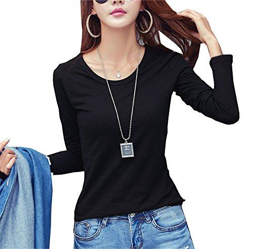 COCO clothing Basic Slim Fit Camicetta Donna Maglia a Manica Lunga Casual Blusa Ragazza Cotone Tinta Unita Eleganti Maglietta Autunno T-shirt nero-collo rotondo