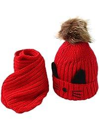 2pcs Bonnet tricoté + écharpe, BZLine Garçons Filles d hiver Chaud Pom Pom  Chapeau 25b2f0a1d39