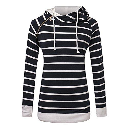 Femme Hoodie Sweatshirt Hauts Tops Pullover Blouse Stripe Sport Manteau Casual Blouson Meedot Noir