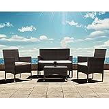 ARTLIVE Polyrattan Sitzgruppe Fort Myers (braun) mit cremefarbenen Kissenbezügen | Gartenmöbel-Set mit 2-er Sofa, Stühlen, Tisch und Sitzauflagen | Garnitur für 4 Personen