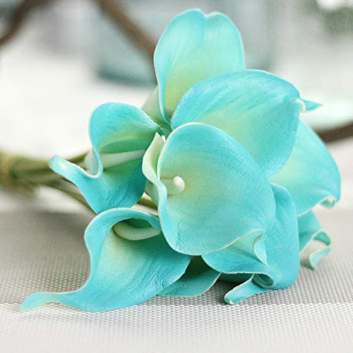 Jun7L Calla-Lilie, Kunstblumen, künstliche Blumen, Party-Dekoration, Blumenstrauß aus PU, echte Haptik, 10 Pcs Blau 34.5X5.5CM