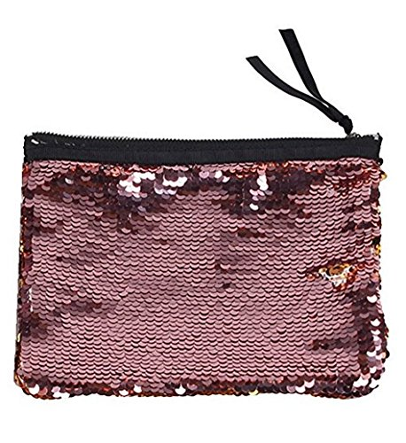 AKAAYUKO Trousse à maquillage Paillettes Pochette de voyage pour Cosmétiques Trousse de toilette pour Femmes Filles-Or Rose