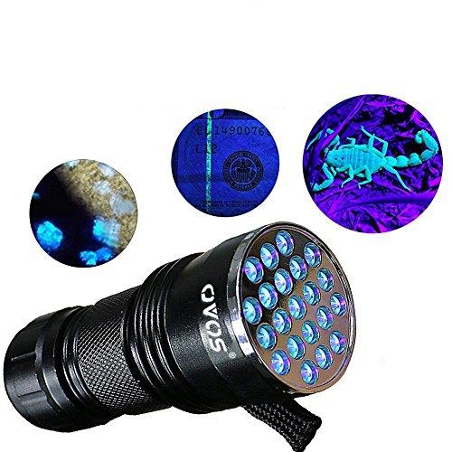 OVOS UV LED Torcia/lampada uv luce nera torcia 21led-395nm con 3batterie AAA
