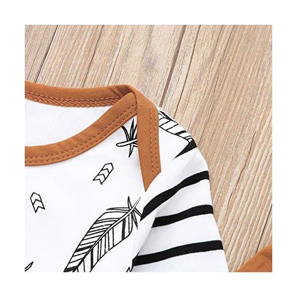 Trisee Ropa Bebe Niño Conjuntos Conjunto de Ropa de Rayas patrón de Plumas Mangas con Capucha Camisetas Recién Nacido… 5