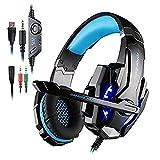 Auriculares de gamer Each G9000, 3,5mm, con micrófono y luz LED para PS4, portátil, teléfono, tableta, etc. Color negro y azul