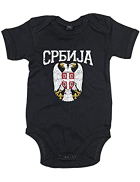 Shirt Happenz Serbien Wappen Premium Babybody | Serbe | Belgrad | Balkan | Mädchen und Jungen | Kurzarmbody