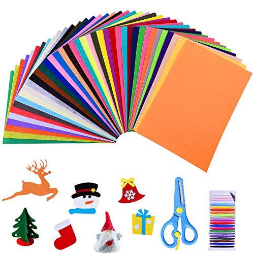 Gudotra kit 40pz feltro in fogli colorato 40 colori 20×30cm rettangolo+ forbici + fili cucito di 21 colori feltro per big shot natale matrimonio battesimo bambini(kit 20 * 30cm)