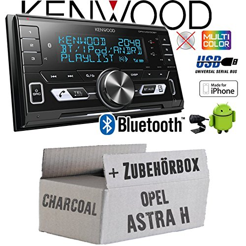 Autoradio Radio Kenwood DPX-M3100BT - 2-DIN Bluetooth USB VarioColor Einbauzubehör - Einbauset für Opel Astra H Charcoal - JUST SOUND best choice for caraudio
