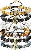YADOCA 6 Stücke 8 MM Beads Armbänder für Herren Männer Lava Tigerauge Armband Gothic Elastizität Punk Armband Set