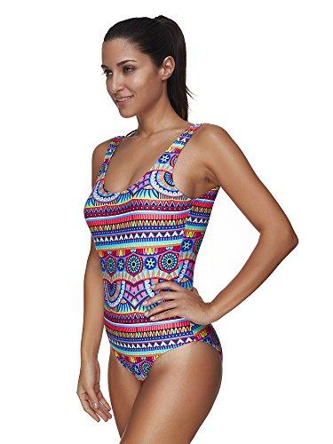 BOZEVON Costume da bagno Intero Estivo Multicolor Fashion Stripe Donna Bikini Stile 8