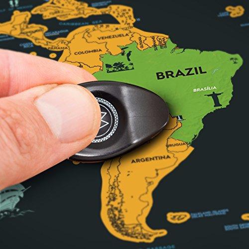 Rascando Brasil en mapamundi de rascar