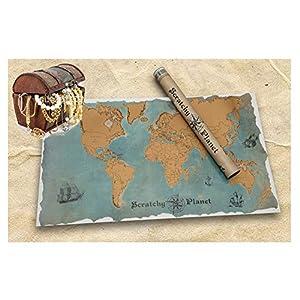 Scratchy Planet - Rubbel Weltkarte, Rubbel Atlas, Weltkarte Zum Rubbeln, Internationale Scratch Landkarte XL, Vintage Version im Piratenlook