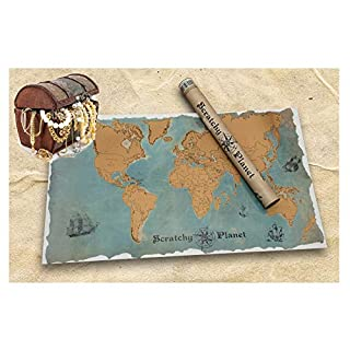 Scratchy Planet®, world scratch card with a vintage look, scratchcard atlas, reveal world map, international map XL, authentic country and city names, pirate style