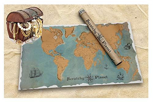 Scratchy Planet - Rubbel Weltkarte, Rubbel Atlas, Weltkarte Zum Rubbeln, Internationale Scratch Landkarte XL, Vintage Version im Piratenlook