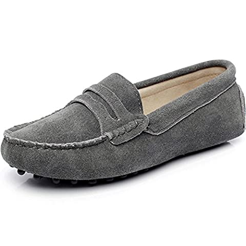 Jamron Women's Classic Suede Penny Loafers Comfort Handmade Slipper Moccasins Grey UK4