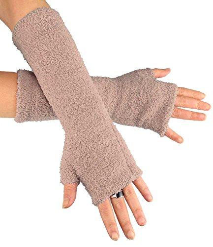 Caripe 1 Paar Damen Fingerlose Handschuhe Handstulpen Strick Armstulpen - 11 (FLA - beige - New)