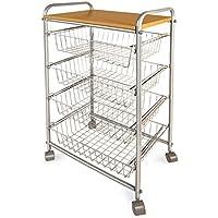 Chariot de cuisine casa pura® Sevilla 5 niveaux   4 paniers de rangement + Plan de travail en bois   Chrome - 85 x 31 x 45cm