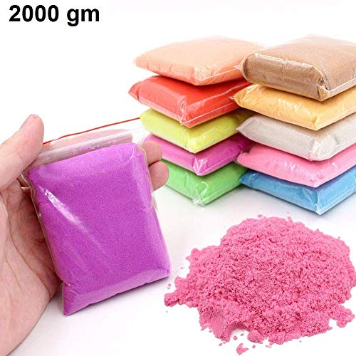SKYFUN (LABEL) Magic Motion Moving Kids Play Sand Clay Non Toxic Building Sand Bag-Assorted Colour (2000 Grams)