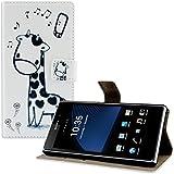 kwmobile Hülle für Sony Xperia Z1 - Wallet Case Handy Schutzhülle Kunstleder - Handycover Klapphülle mit Kartenfach und Ständer Giraffe Comic Design Schwarz Weiß