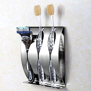 techsmile Zahnbürstenhalter und Zahnpasta Regal, Shaving Rasierer Ständer, Wandhalterung selbstklebend Zahn Pinsel Halter Spender, Edelstahl Badregal Zubehör für Home Speicherung und Organisation