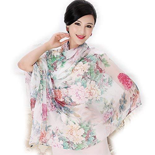 Photo Gallery b-joy sciarpa donna, sciarpa di seta floreale, 175 x 110 cm, sciarpa di seta di gelso, orchidea, peonia, rosa, tulipano, stampa di lavanda (peonia b)